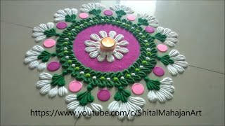 Very Easy and Quick Festival Rangoli Designs Using Fork|muggulu,kolam designs|latest 2019 rangoli
