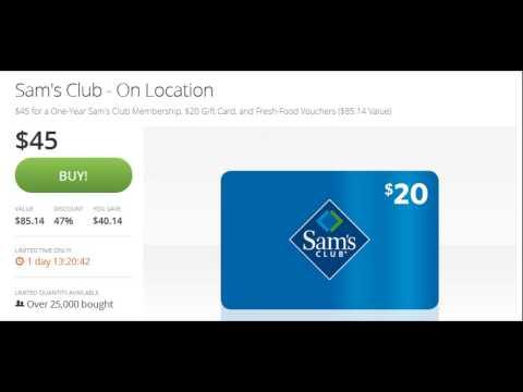 Sam's Club Membership Half Price Groupon + $20 Gift Card