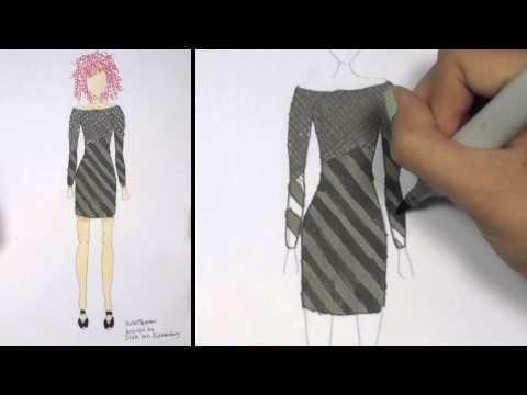 How to Draw Clothes for Beginners Fashion Designing: Black and Grey Mini-Dress | KT