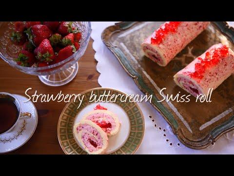 Strawberry buttercream Swiss roll | Video recipe