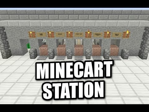 MINECART Minecraft Station Tutorial - How to Build a working train station
