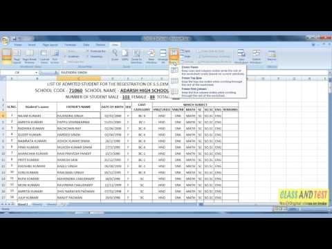 Excel 72 - Freeze Panes Learn Excel Step by Step in Hindi