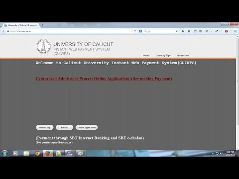 Procedure of Online Application for Degree Courses in Calicut University