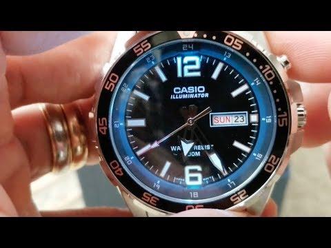 CASIO MTD1079D-1A3V  Diver Style Mens Super Blue LED Illuminator Watch Day Date 100 Meter! 5 26 18