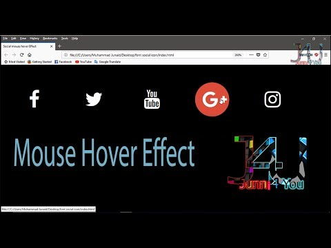 How To Add Social Media Icons Without Images - Font Awesome Icon CSS3 hover effect in Urdu & Hindi