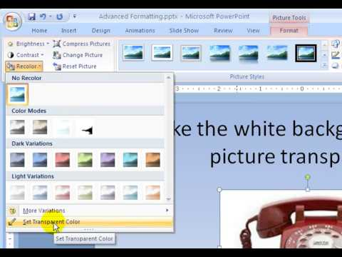 PowerPoint 2007 Lesson 2 Set the transparent color of a picture