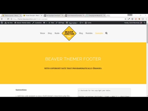 Beaver Themer - How to add a programmed copyright date and symbol