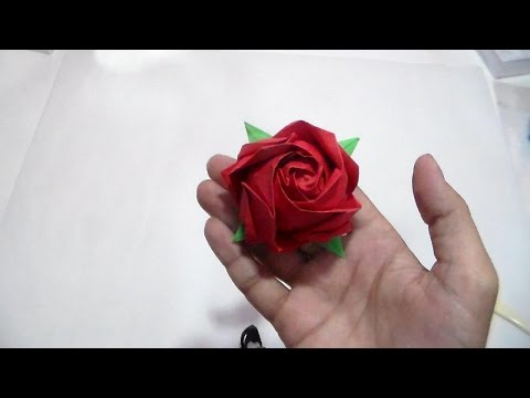 How to make kawasaki rose by Toshikazu Kawasaki-(HD) وردة اوريجامي