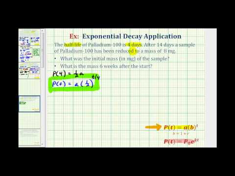 Exponential Decay App (y=ab^t) - Find Initial Amount Given Half Life