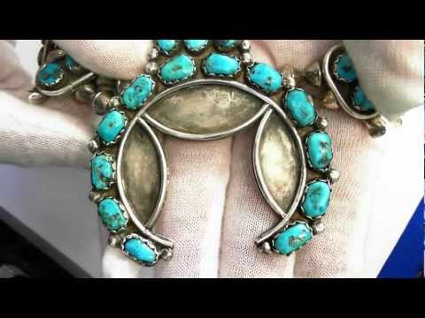 Vintage American Indian Necklace (Circa 1960) - Sterling & Turquoise