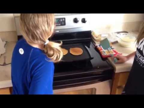 How to make hungry jack pancakes with Becky and Cora!