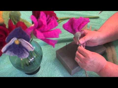 Felted Bouquet -- Attaching stems to the felted flowers