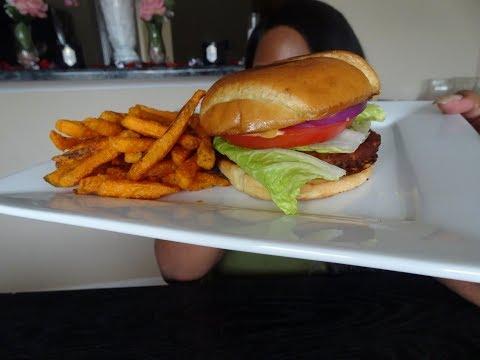 Chipotle Spicy Black Bean Burger Mukbang With Sweet Potatoe Fries