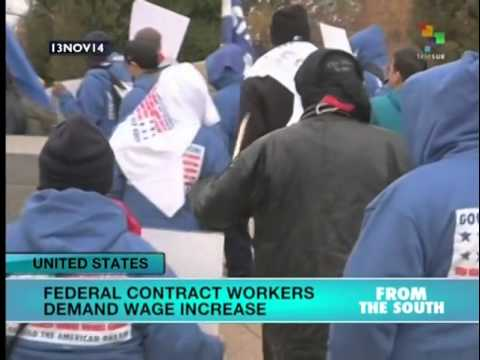 US federal employees strike to demand increase to federal minimum wage