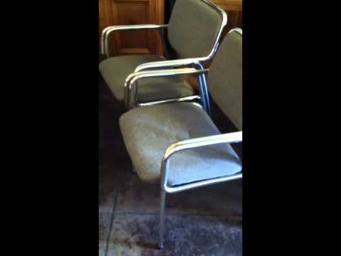 Set of Four Wide Set Chrome and Gray Tweed Dining Chairs from Canada | Casa Victoria LA | Seating