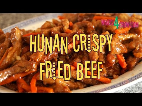 Hunan Crispy Fried Beef. Tender strips of rump, crisp fried and glazed with a piquant sauce.