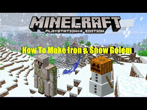 Minecraft PS4- How To Make Iron & Snow Golem (Tuto