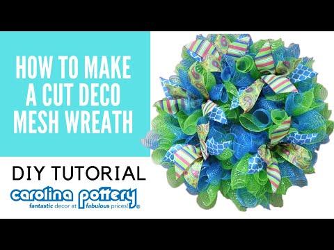 How to Make a Cut Deco Mesh Wreath - Carolina Pottery