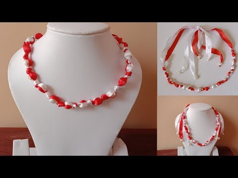 Simple and easy satin ribbon necklace | DIY satin ribbon necklace💖
