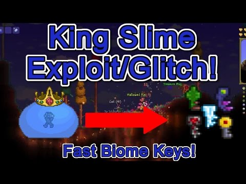 Terraria: HOW TO GET BIOME KEYS FAST! (NEW KING SLIME EXPLOIT!!)