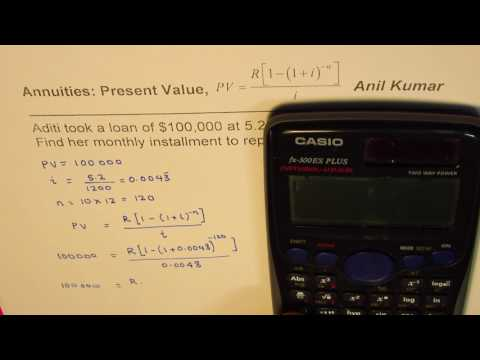 Find Monthly installment for loan Present Value Annuity Example