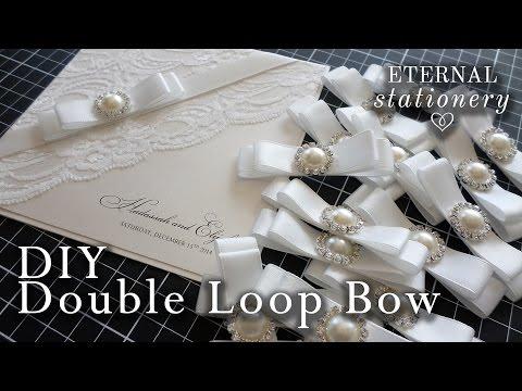 How to make a perfect satin ribbon dior bow   Wedding Invitations   DIY invitation