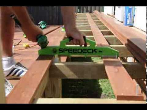 Speedeck in use - laying the first and last decking boards