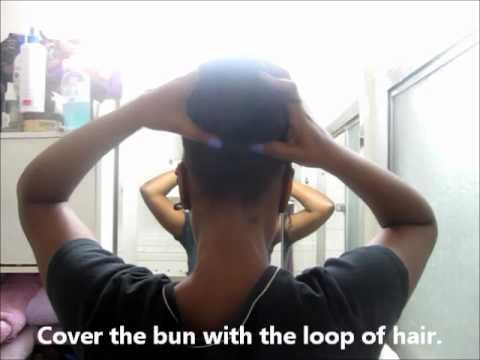 30 second Hair tutorial - Bun Short Hair - Nautilus bun with extensions - Marley Braid Natural Hair