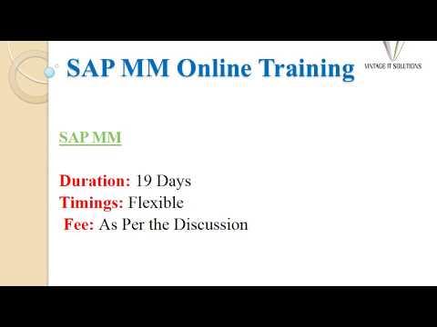 SAP MM Training Videos, SAP MM Course Content
