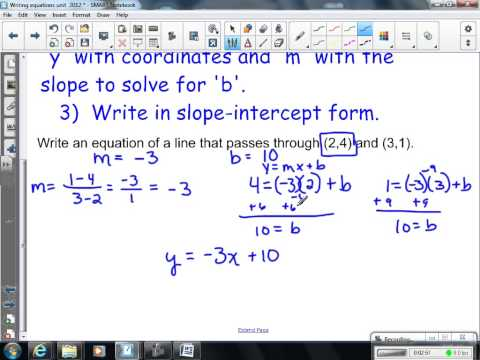 Writing linear equations given 2 points 2012 Alge