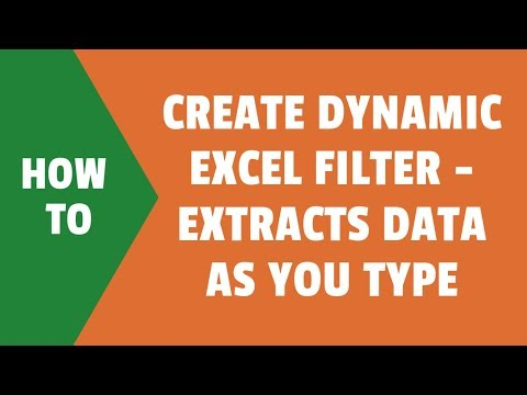 Create Dynamic Excel Filter - Extract data as you type