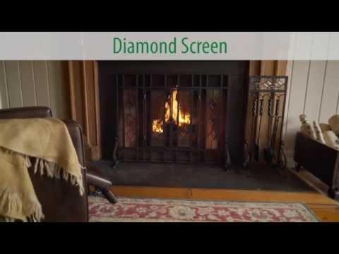 Beveled Glass Diamond Fireplace Screen SKU# 10385 - Plow & Hearth