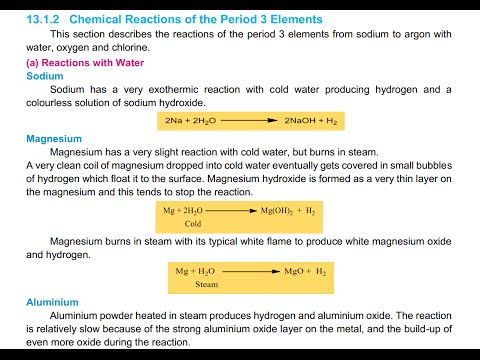 Lecture 2: Period 3 Elements Reactions with Water | 2nd Year Chemistry FBISE (Urdu)