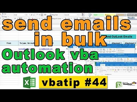 how to send bulk emails in vba - send auto email in outlook - vbatip#44