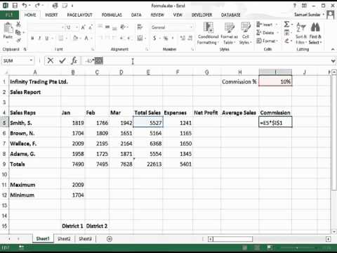 Creating an Absolute Reference in Excel 2013