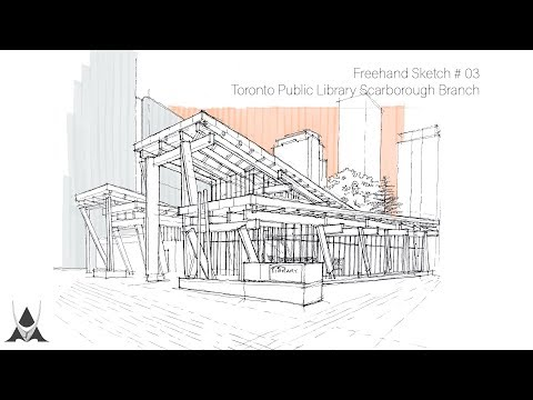 Freehand Architectural Sketch # 03 St. TPL Scarborough Civic Center Branch (Toronto, CA)