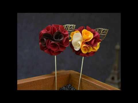 Handmade Flower Boutonniere Stick Gold Leaf Brooch Pin Men Women Accessories Men Lapel Pin Brooch