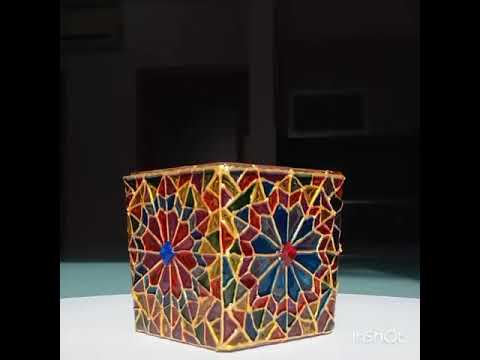 DIY   Candle Holder   Painting on Glass   Stained Glass Effect