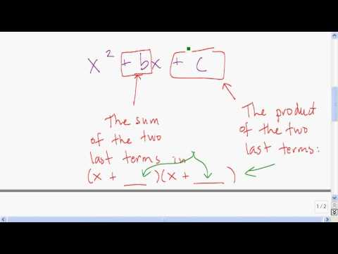 Factoring quadratics with a leading coefficient of one