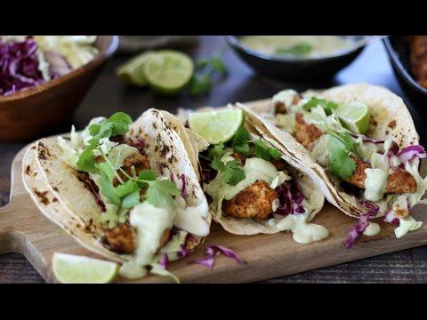 Grilled Chicken Taco Recipe with Avocado Cilantro Dressing
