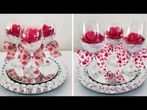 DIY| !BLING! DOLLAR TREE WINE GLASS CENTERPIECE 2018