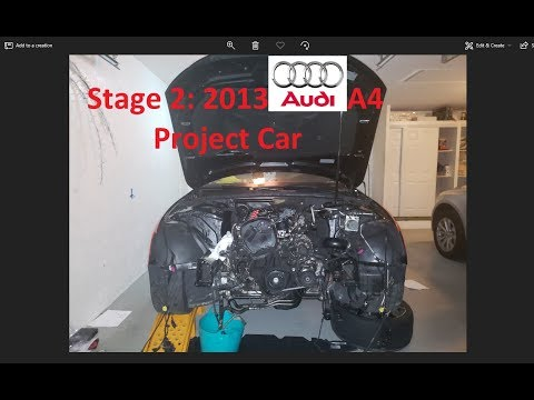 B8.5 Audi A4 Proj. DIY Remove Entire Front End, Radiator & its Frame & Drain the Coolant & Oil