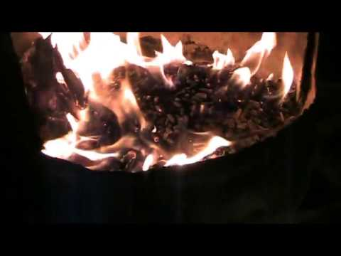 Burning Wood Pellets In Floor of Wood Stove Oil Burner With Temps