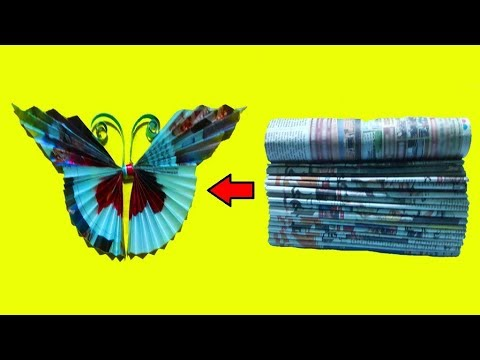 Easy Newspaper Craft●Creative Recycled Paper Butterfly From Old Newspaper/Magazine●Best Out Of Waste