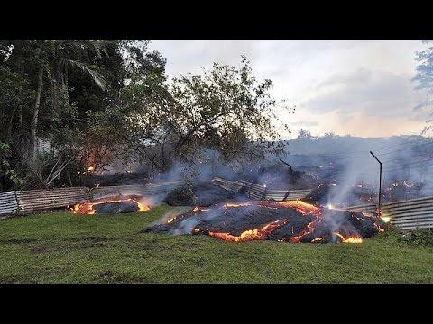 Lava bubbles its way towards homes in Hawaii