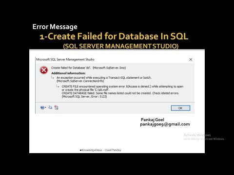 1- Error Message Create Failed Database in SQL