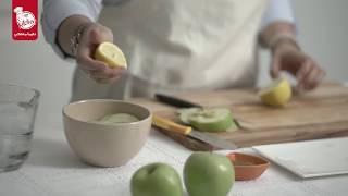 سناك حلقات التفاح مع زبدة الفول السوداني