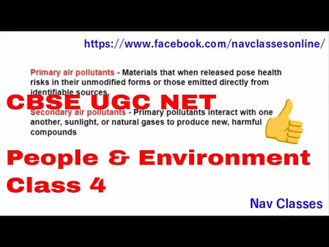 CBSE UGC NET people & Environment || primary and secondary air pollutants || Class 4