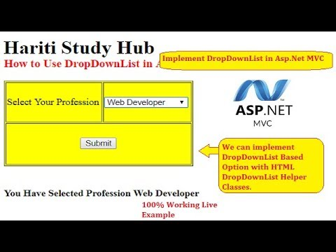 Create DropDownList using HtmlHelper in ASP.Net MVC   Hindi   Free Online Learning Classes