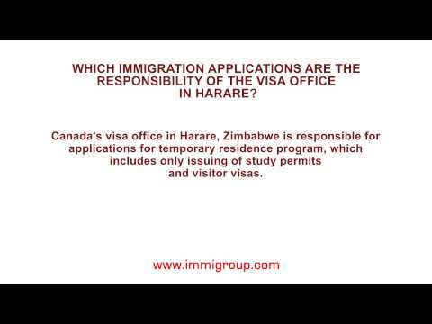 Which immigration applications are the responsibility of the visa office in Harare?